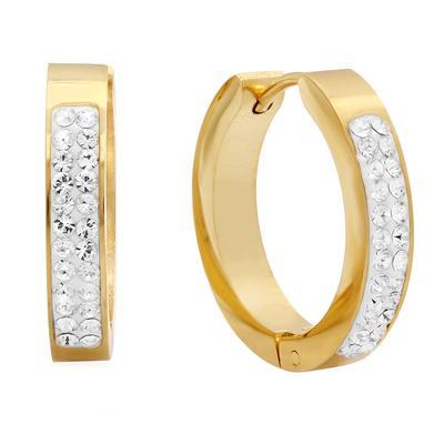Gold Plated Stainless Steel & Swarovski Crystal Huggies