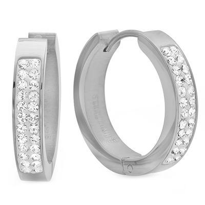 Stainless Steel & Swarovski Crystal Huggies
