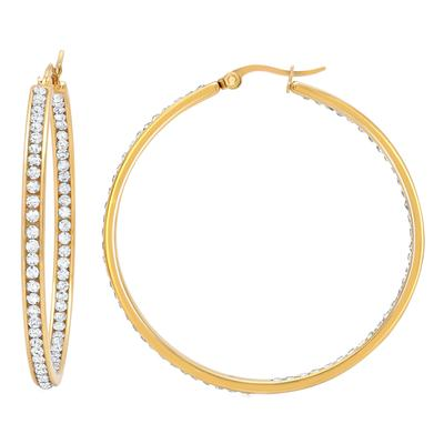 Large Gold Plated Stainless Steel & Cz Hoops