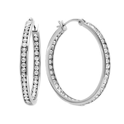Large Stainless Steel & Cz Hoops