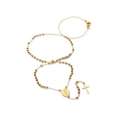 Small Gold Plated Stainless Steel Rosary Necklace