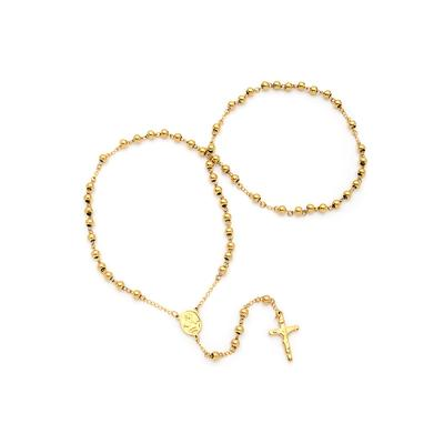 Large Gold Plated Stainless Steel Rosary Necklace