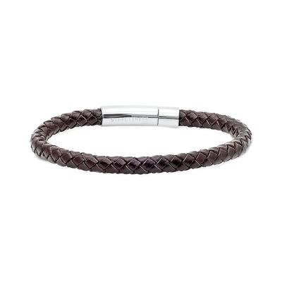 Men's Stainless Steel & Braided Brown Leather Bracelet