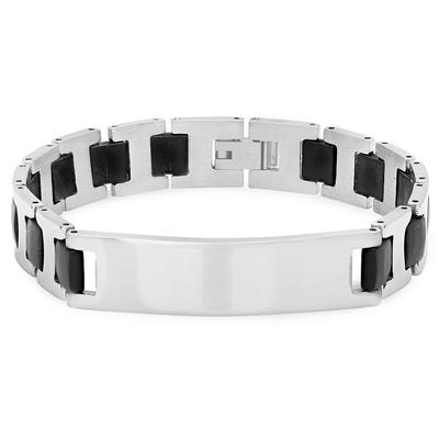 Men's Rubber And Stainless Steel Id Bracelet