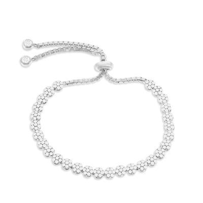 Adjustable Sterling Silver & Cz Flower Bracelet