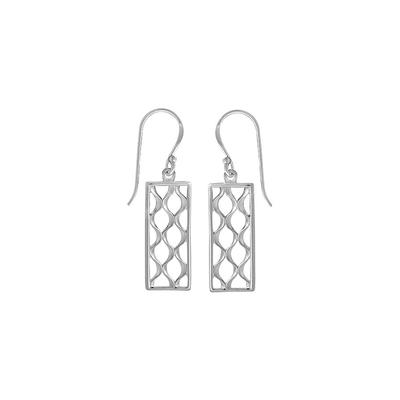Boma Sterling Silver Rectangle Crosshatch Dangles
