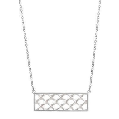 Boma Sterling Silver Rectangle Crosshatch Necklace