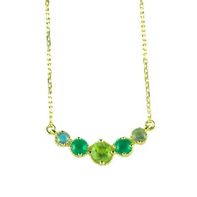 Amy Hong Gold Green Curve Necklace