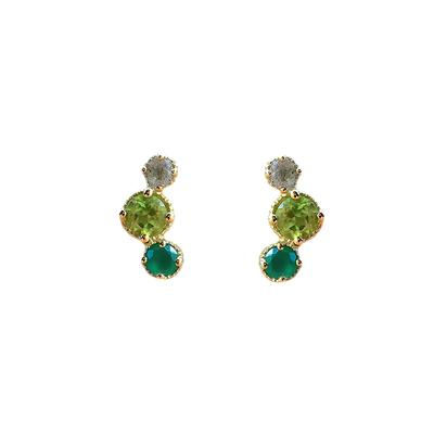 Amy Hong Gold Green Curve Studs