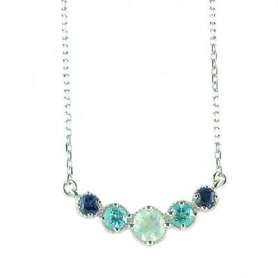 Amy Hong Sterling Silver Blue Curve Necklace
