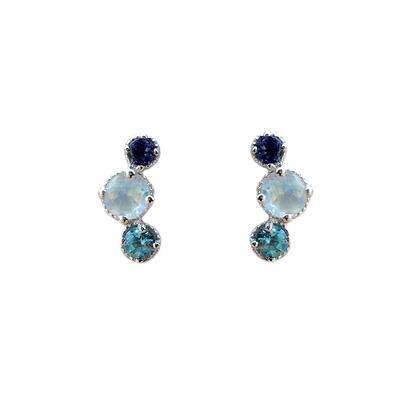 Amy Hong Sterling Silver Blue Curve Studs