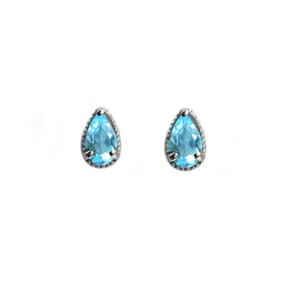 Amy Hong Tiny Sterling Silver Blue Topaz Studs