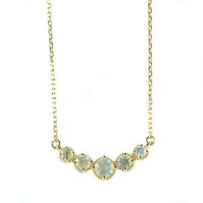 Amy Hong Rose Gold Rainbow Moonstone Curve Necklace