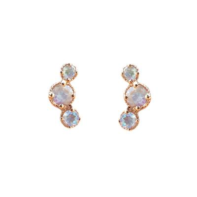 Amy Hong Rose Gold Rainbow Moonstone Curve Studs