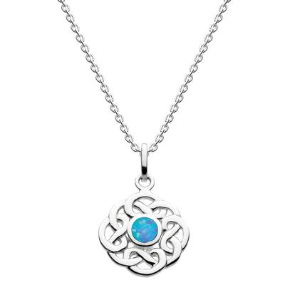 Kit Heath Celtic Sterling Silver & Blue Opal Knotwork Necklace