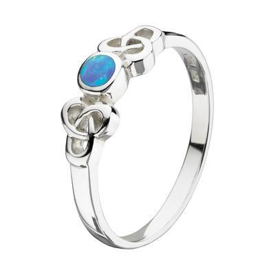 Kit Heath Celtic Sterling Silver & Blue Opal Ring