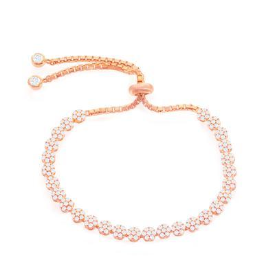 Adustable Rose Gold & Cz Flower Bracelet