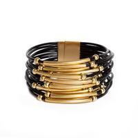 Wide Black Leather & Gold Bead Multi-Strand Bracelet