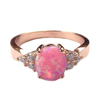 Rose Gold, Pink Opal & Cz Ring