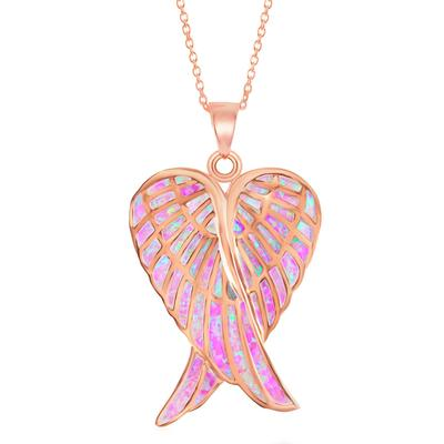 Rose Gold & Pink Opal Double Angel Wing Necklace