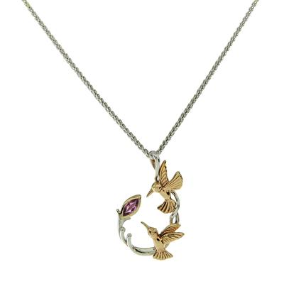 Keith Jack Rhodolite Garnet & Gold Hummingbird Curve Necklace