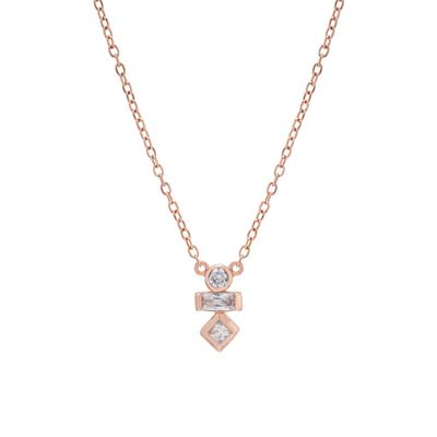 Rose Gold & Cz Geometric Shapes Necklace