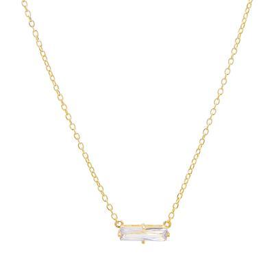 Gold & Cz Baguette Necklace