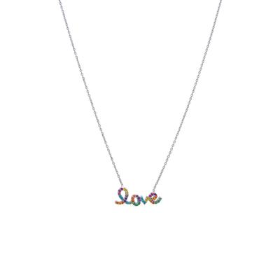 Colorful Rainbow Cz & Sterling Silver Love Necklace
