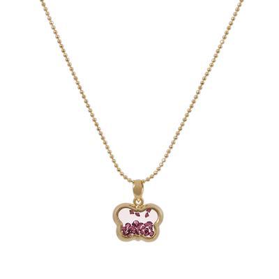 Gold & Purple Crystal Butterfly Shaker Choker