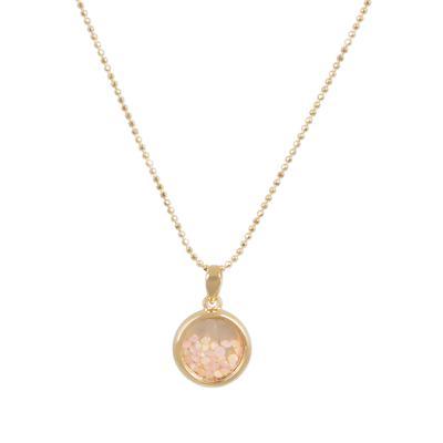Gold & Pink Crystal Round Shaker Choker