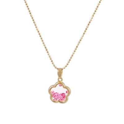 Gold & Pink Crystal Flower Shaker Choker