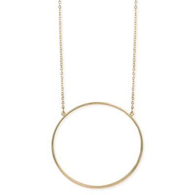 Long Golden Metal Open Circle Necklace
