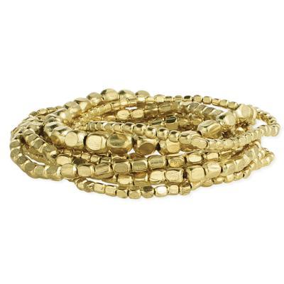 Set Of 10 Golden Metal Bead Stretch Bracelets
