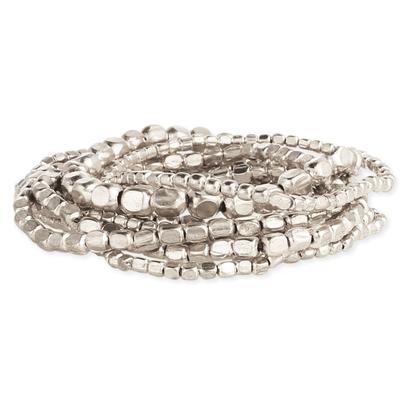 Set Of 10 Silver Metal Bead Stretch Bracelets