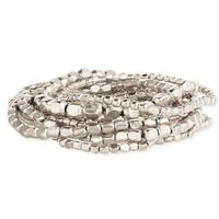 Set of 10 Silver Metal Bead Stretch Bracelets