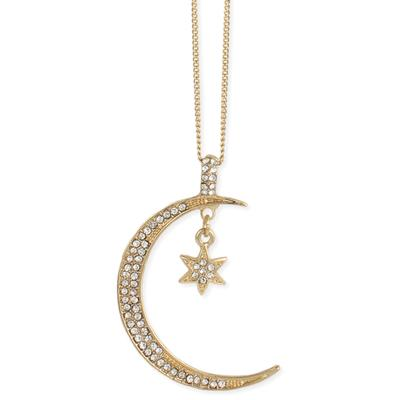 Golden Metal & Crystal Long Crescent Moon Necklace