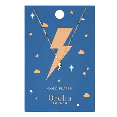 Orelia London Gold Lightening Bolt Charm Necklace