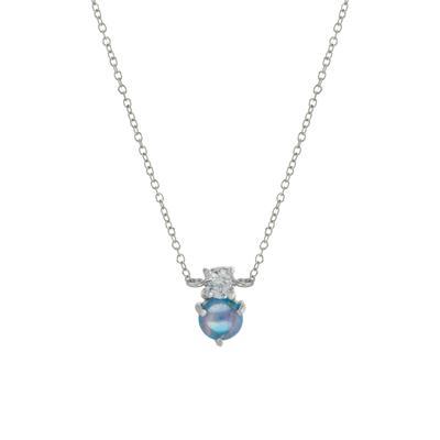 Dainty Cz & Blue Opal Necklace