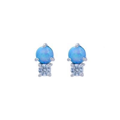 Dainty Cz & Blue Opal Studs