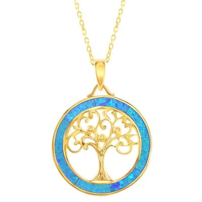 Gold & Blue Opal Tree Of Life Necklace