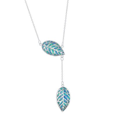 Sterling Silver & Blue Opal Double Leaf Lariat