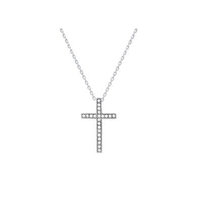 Sterling Silver & Cz Tiny Cross Necklace