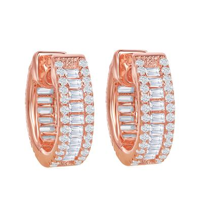 Rose Gold Plated Sterling Silver Cz Baguette Huggies