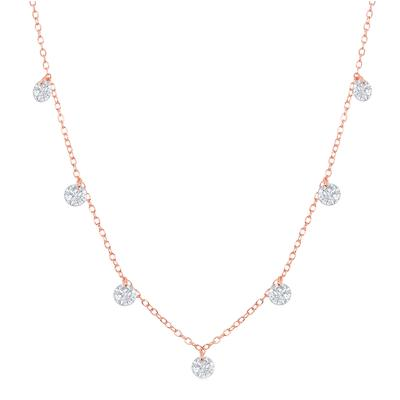 Rose Gold Plated Sterling Silver Dangling Cz Necklace