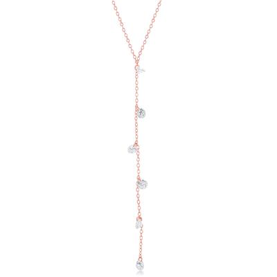Rose Gold Plated Sterling Silver Dangling Cz Y- Necklace