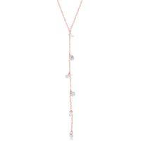 Rose Gold Plated Sterling Silver Dangling CZ Y-Necklace