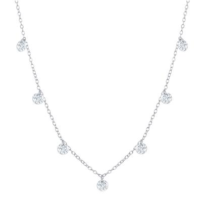 Sterling Silver Dangling Cz Necklace