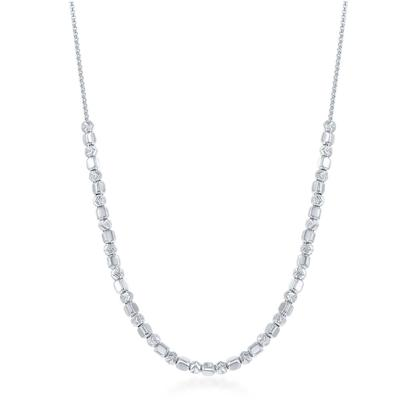 Sterling Silver Diamond Cut Chevron & Square Bead Necklace