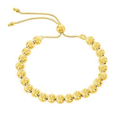 Adjustable Gold Plated Sterling Silver Ball Bead Bracelet