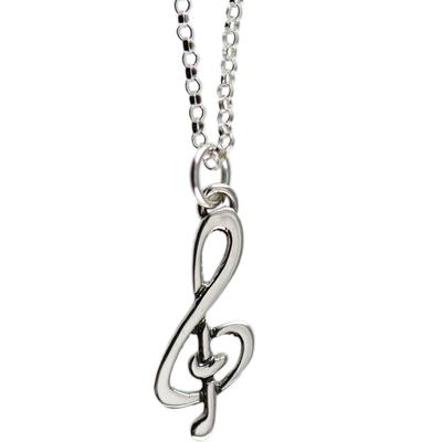 Far Fetched Tiny Sterling Silver Treble Clef Charm Necklace